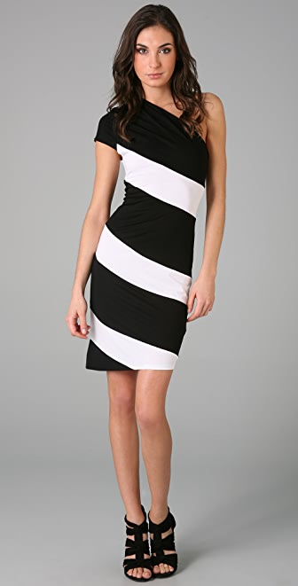 alice + olivia Striped Skye One Shoulder Dress
