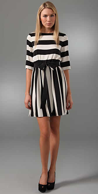 alice + olivia Striped Emmie Dress