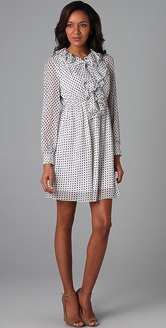 alice + olivia Cora Polka Dot Ruffle Dress