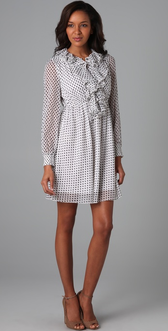 alice + olivia Cora Polka Dot Ruffle Dress