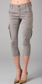 Womens Cropped Cargo Pants