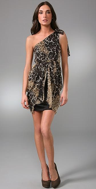 alice + olivia Kelley Leopard One Shoulder Dress
