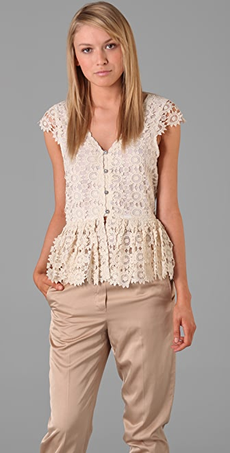 alice + olivia Wendy Lace Blouse