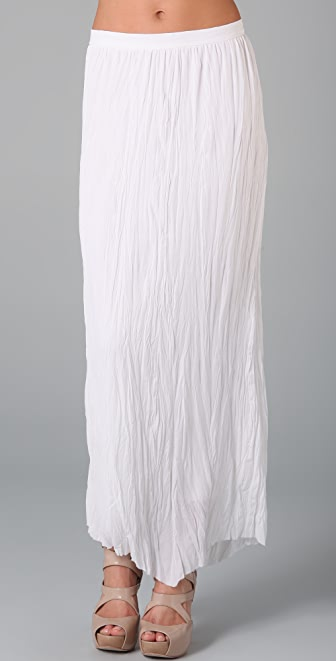 alice + olivia Crinkle Silk Long Skirt