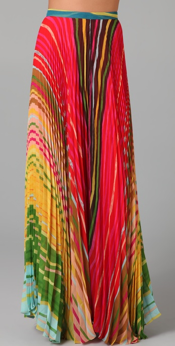 alice + olivia Shannon Printed Long Skirt