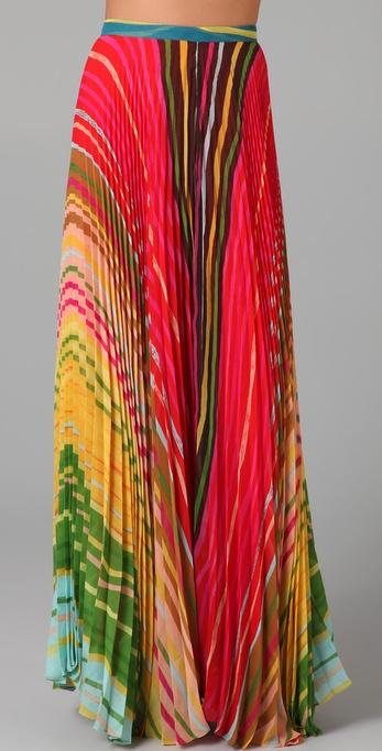 alice + olivia Shannon Printed Long Skirt