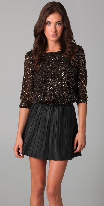 alice + olivia Opal Sequin Cropped Top
