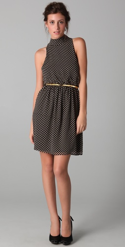 alice + olivia Mikaela Polka Dot Dress with Belt
