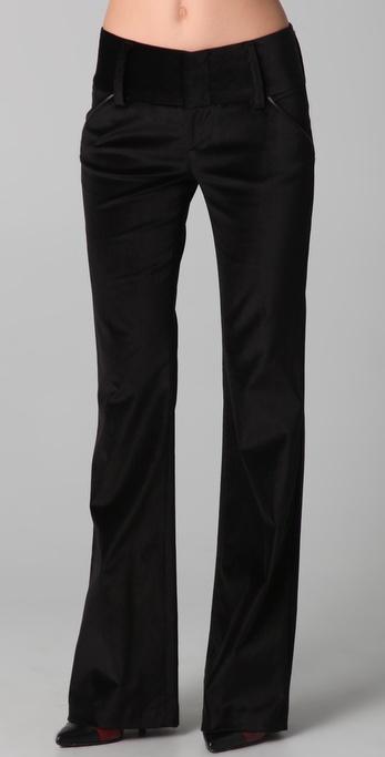 alice + olivia Olivia Velvet Pants with Leather Trim
