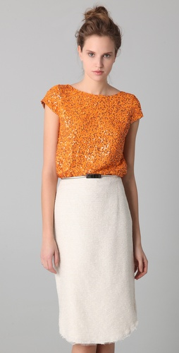 alice + olivia Sariat Sequined Crop Top
