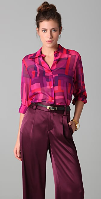 alice + olivia Easley Print Button Down Shirt
