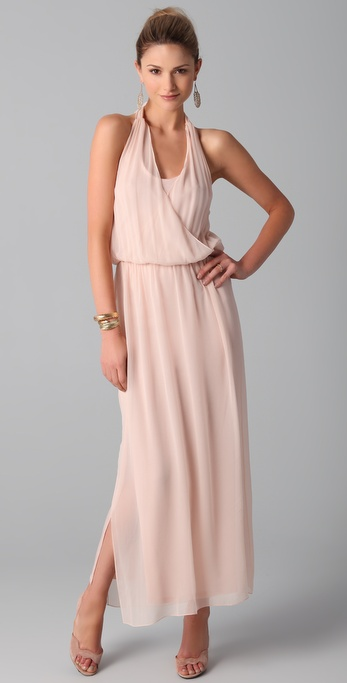 alice + olivia Wrap Front Halter Maxi Dress