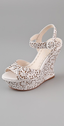 alice + olivia Jana Laser Cut Wedge Sandals