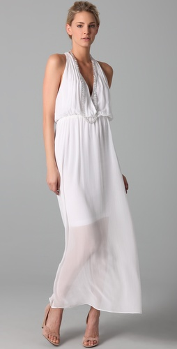 alice + olivia V Neck Chiffon Gown