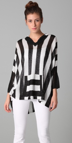 alice + olivia Jamie Striped Hooded Poncho