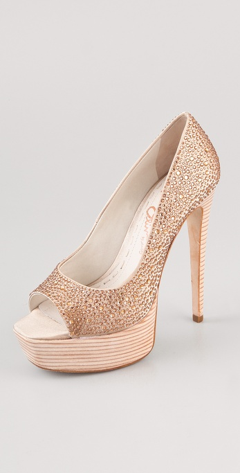 alice + olivia Crystal Platform Pumps
