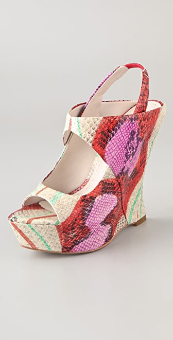 alice + olivia Delilah Print Wedge Sandals