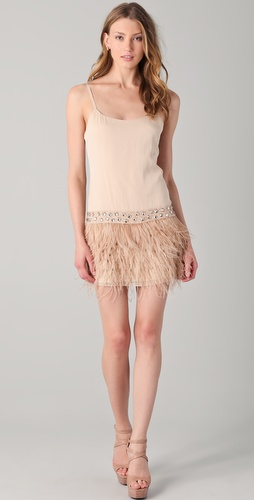 alice + olivia Lydia Feather Tank Dress