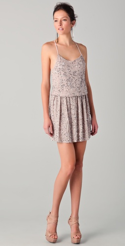alice + olivia Bridget Sequined Blouson Dress