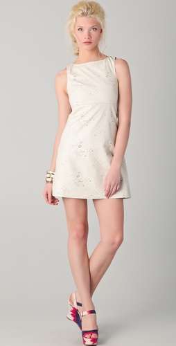 alice + olivia Abby Leather Laser Cut Dress