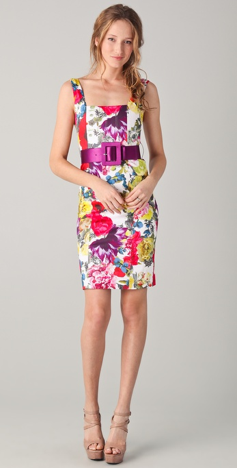 alice + olivia Natalee Print Sheath Dress with Belt