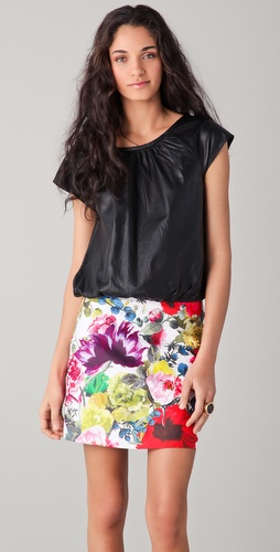 alice + olivia Leather Short Sleeve Butterfly Top