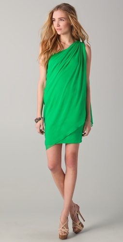 alice + olivia Draped One Shoulder Dress