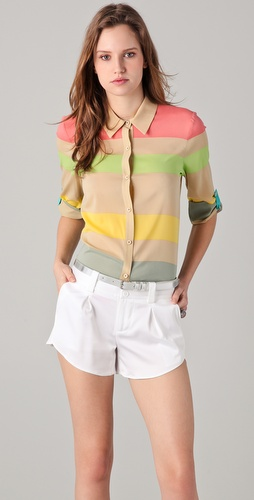 alice + olivia Beau Button Down Flare Top