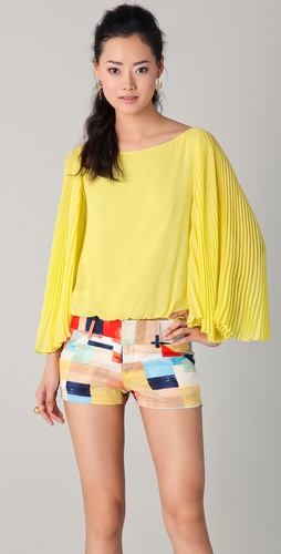 alice + olivia Briar Pleated Bell Sleeve Top
