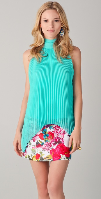 alice + olivia Emmy Pleated Top with Scarf
