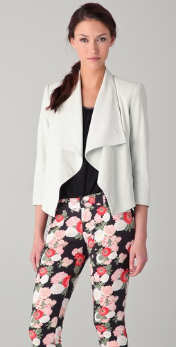 alice + olivia Colton Draped Leather Jacket
