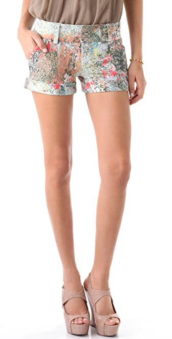 alice + olivia Floral Cady Cuff Shorts