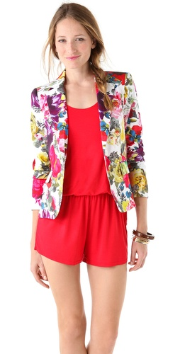 alice + olivia Elyse Floral Print Blazer