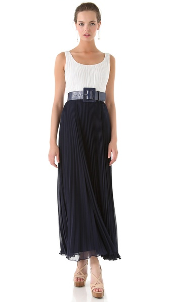 alice + olivia Leila Pleated Maxi Dress with Belt