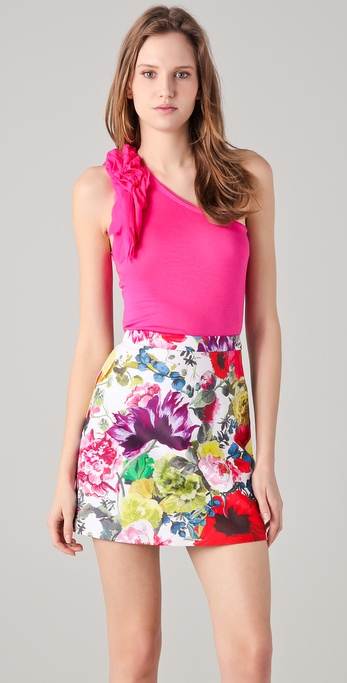 alice + olivia One Shoulder Flutter Tee
