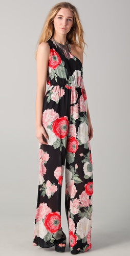 alice + olivia Beverly One Shoulder Jumpsuit