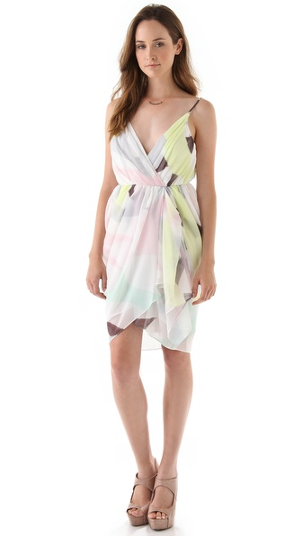 alice + olivia Isadora Wrap Top Trapeze Dress