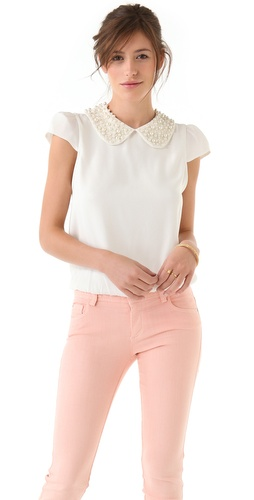 alice + olivia Bali Beaded Collar Top