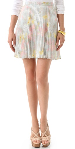 alice + olivia Floral Pleated Skirt