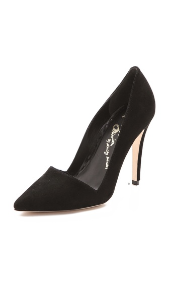 Alice + Olivia Dina Suede Pumps - Black at Shopbop / East Dane