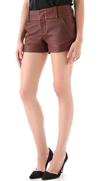 alice + olivia Cady Cuff Leather Shorts