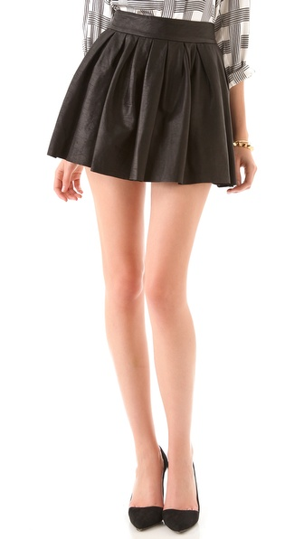 Alice + Olivia Box Pleat Leather Skirt - Black at Shopbop / East Dane