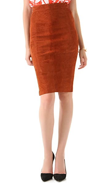 alice + olivia Sarah Suede Pencil Skirt