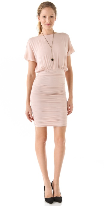 alice + olivia Ruthie Ruched Dress with Open Shoulders