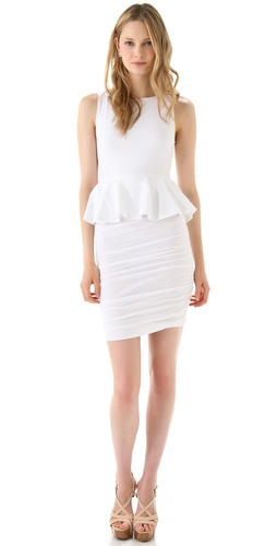 alice + olivia Peplum Tank Dress with Ruched Skirt