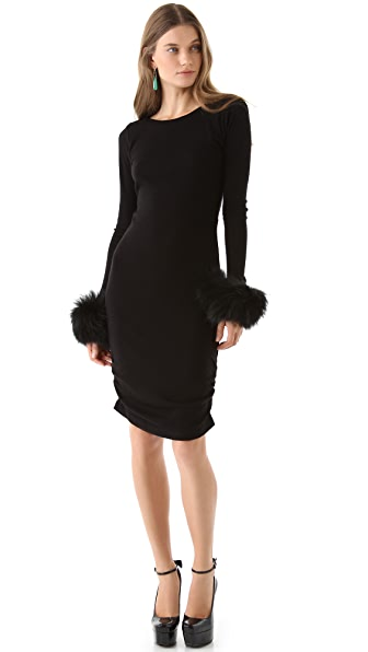 alice + olivia Alesia Fur Cuff Dress