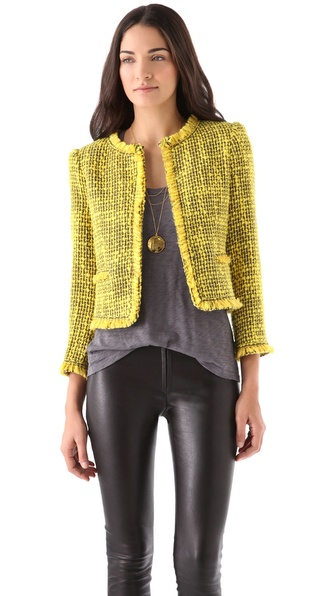 alice + olivia Celeste Collarless Trim Jacket
