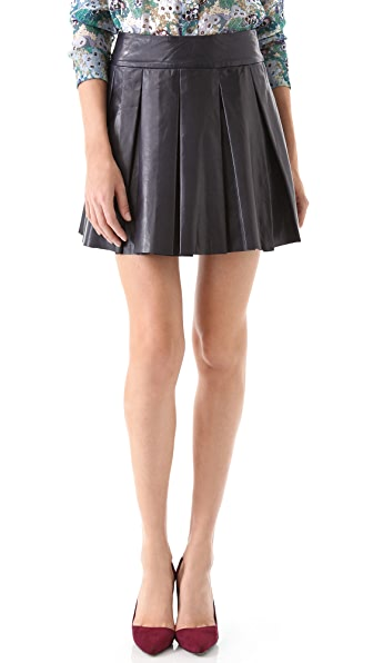 alice + olivia Pleated Leather Miniskirt