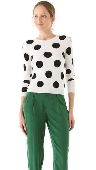 alice + olivia Celyn Polka Dot Sweater with Sequins