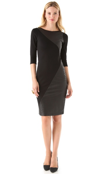alice + olivia Nola Leather Combo Dress